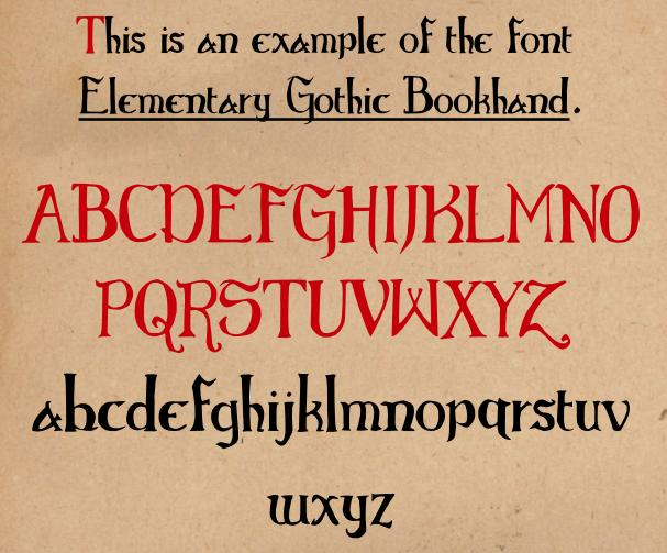 Elementary Gothic Bookhand font
