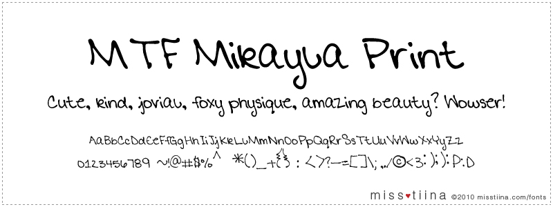 MTF Mikayla Print font