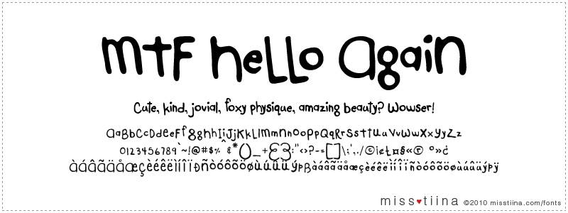 MTF Hello Again font