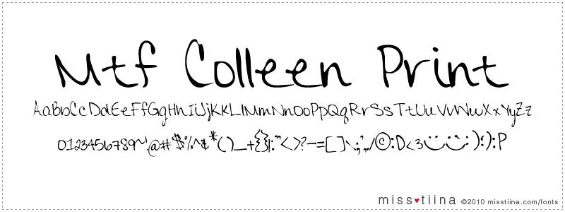 MTF Colleen Print font