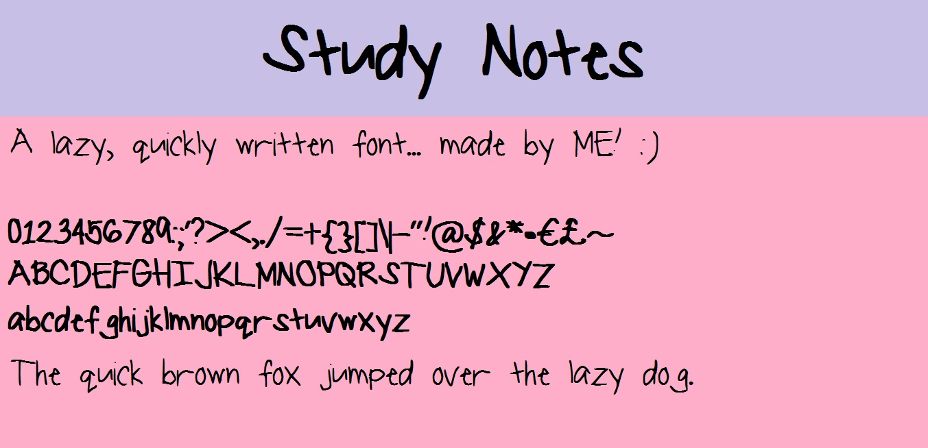 Study Notes font