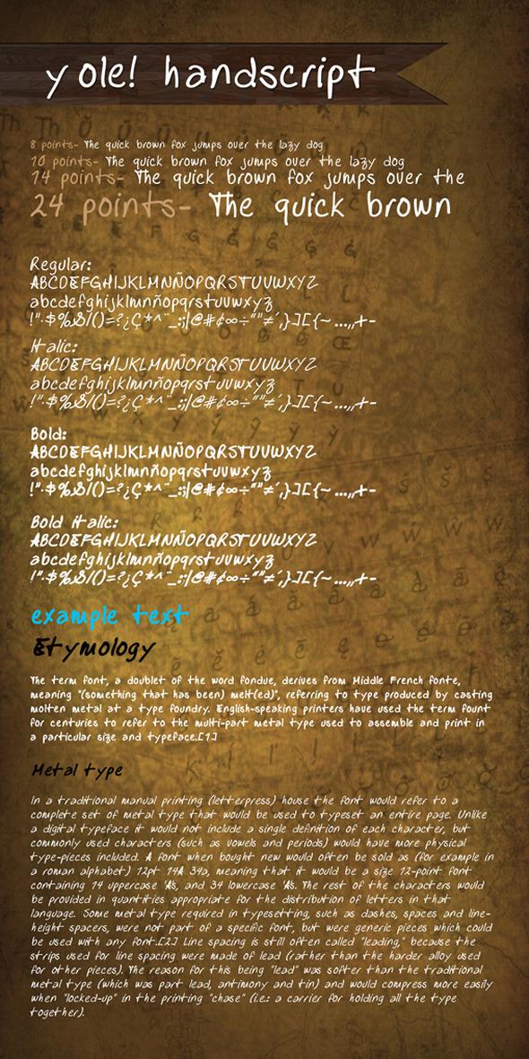 y ole! Handscript font