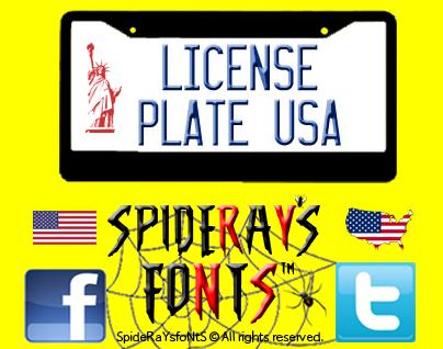 License Plate USA font