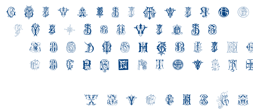 Intellecta Monograms Random Samples Seven font