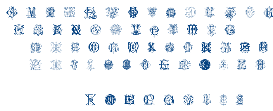 Intellecta Monograms Random Samples Six font