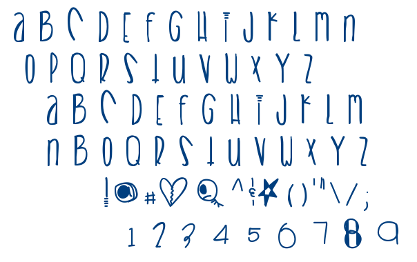 Heart breaks font