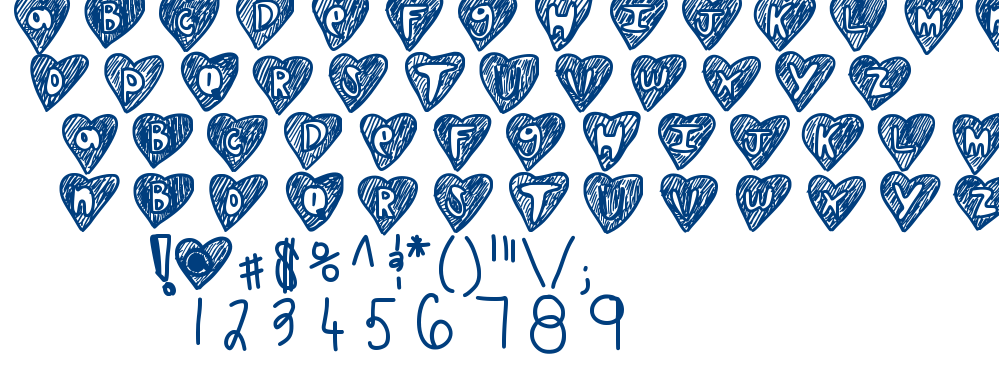 Over hearts font