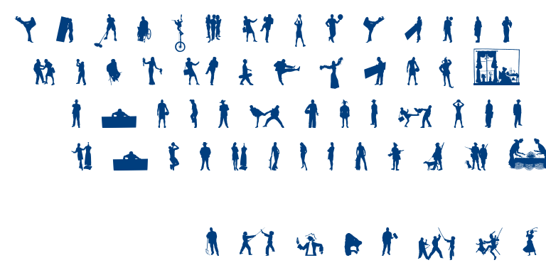 Human silhouettes free eight font