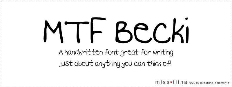 MTF Becki font