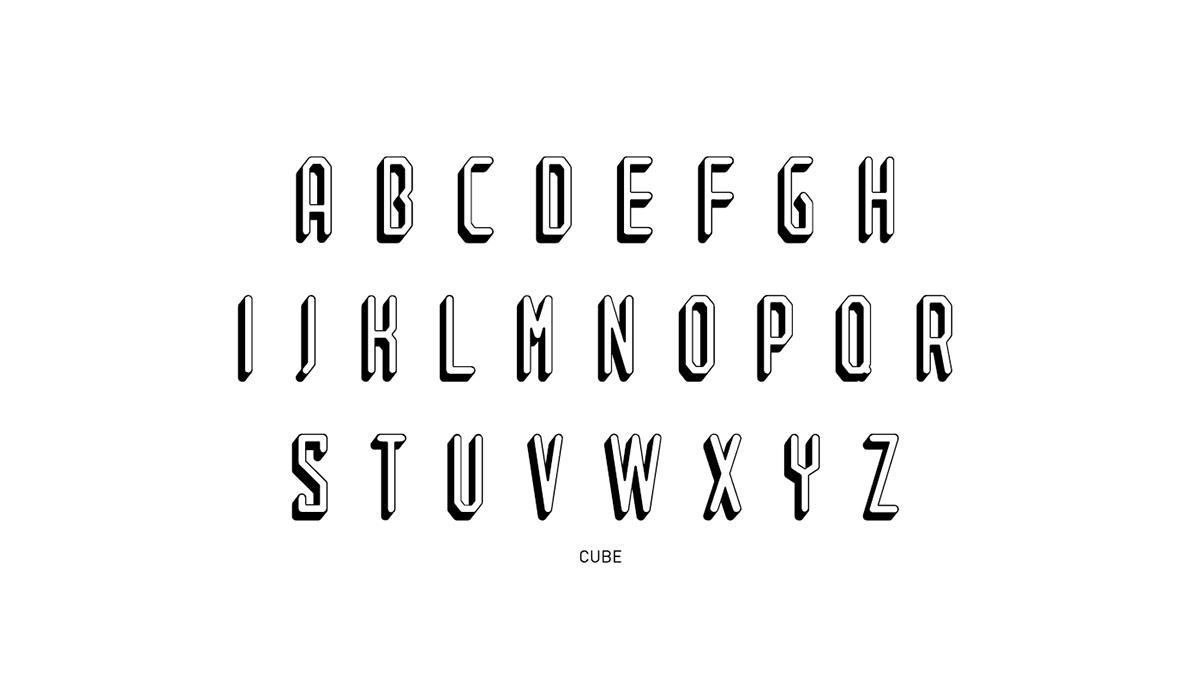 Tubed cube font